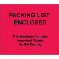 """Packing List Enclosed"" Envelopes, Red, 7 x 6"""