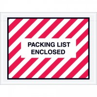 """Packing List Enclosed"" Envelopes, Red/White, 4 1/2 x 6"", Full Face"