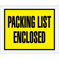 """Packing List Enclosed"" Envelopes, Yellow, 4 1/2 x 5 1/2"", Full Face"