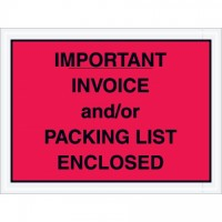 """Important Invoice and/or Packing List Enclosed"" Envelopes, Red, 4 1/2 x 6"""