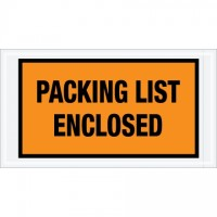 """Packing List Enclosed"" Envelopes, Orange, 5 1/2 x 10"", Full Face"