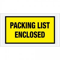 """Packing List Enclosed"" Envelopes, Yellow, 5 1/2 x 10"", Full Face"