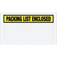 """Packing List Enclosed"" Envelopes, Yellow, 5 1/2 x 10"", Panel Face"
