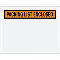 """Packing List Enclosed"" Envelopes, Orange, 7 x 5 1/2"", Panel Face"