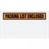 """Packing List Enclosed"" Envelopes, Orange, 5 1/2 x 10"", Panel Face"