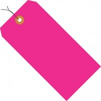 Fluorescent Pink Pre-wired Shipping Tags #1 - 2 3/4 x 1 3/8""