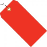 Fluorescent Red Pre-wired Shipping Tags #1 - 2 3/4 x 1 3/8""