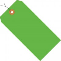 Fluorescent Green Pre-wired Shipping Tags #1 - 2 3/4 x 1 3/8""