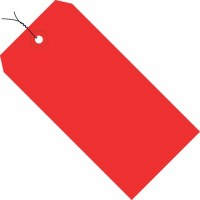 Red Pre-wired Shipping Tags #1 - 2 3/4 x 1 3/8""