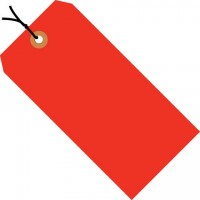 Fluorescent Red Pre-strung Shipping Tags #1 - 2 3/4 x 1 3/8""