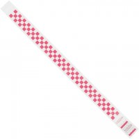 "Pink Checkerboard Tyvek® Wristbands, 3/4 x 10"""