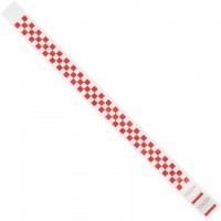 """Red Checkerboard Tyvek® Wristbands, 3/4 x 10"""""""