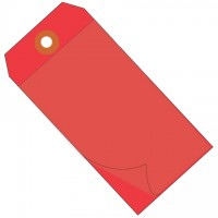 Red Self-Laminating Tags - 4 3/4 x 2 3/8""