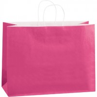 Pink Tinted Paper Shopping Bags, Vogue - 16 x 6 x 12""
