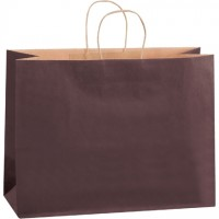 Brown Tinted Paper Shopping Bags, Vogue - 16 x 6 x 12""