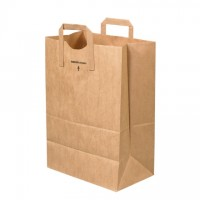 Kraft Paper Grocery Bags, 1/6 BL, Flat Handle - 12 x 7 x 17""