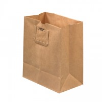 Kraft Paper Grocery Bags, 1/7 BL, Flat Handle - 12 x 7 x 14""