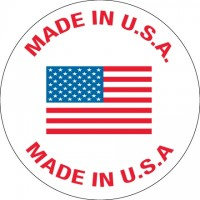 """ Made In U.S.A."" Labels, 1"" Circle"