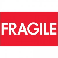 """ Fragile"" High Gloss Fluorescent Red Labels, 3 x 5"""