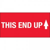 """ This End Up"" High Gloss Fluorescent Red Labels, 2 x 4"""
