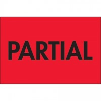 """ Partial"" Fluorescent Red Labels, 2 x 3"""