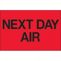 """ Next Day Air"" Fluorescent Red Labels, 2 x 3"""