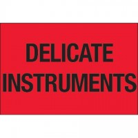""" Delicate Instruments"" Fluorescent Red Labels, 2 x 3"""
