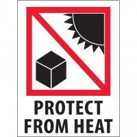 """International Safe Handling Labels -"""" Protect From Heat"""", 3 x 4"""""""
