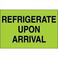 """ Refrigerate Upon Arrival"" Green Climate Labels, 2 x 3"""