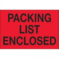 """ Packing List Enclosed"" Fluorescent Red Labels, 2 x 3"""