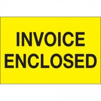 """ Invoice Enclosed"" Fluorescent Yellow Labels, 2 x 3"""