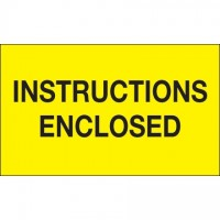 """"""" Instructions Enclosed"""" Fluorescent Yellow Labels, 3 x 5"""""""