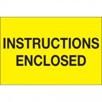 """ Instructions Enclosed"" Fluorescent Yellow Labels, 2 x 3"""
