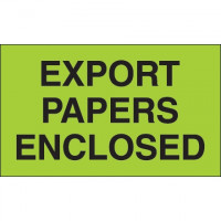 """"""" Export Papers Enclosed"""" Green Labels, 3 x 5"""""""