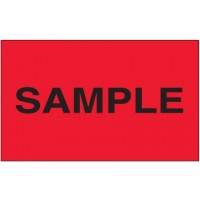 """ Sample"" Fluorescent Red Labels, 3 x 5"""