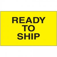 """ Ready To Ship"" Fluorescent Yellow Labels, 3 x 5"""
