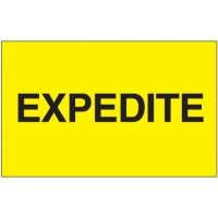 """ Expedite"" Fluorescent Yellow Labels, 3 x 5"""