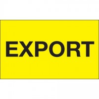 """ Export"" Fluorescent Yellow Labels, 3 x 5"""