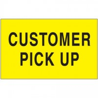 """ Customer Pick Up"" Fluorescent Yellow Labels, 3 x 5"""