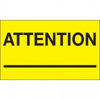 """ Attention ___"" Fluorescent Yellow Labels, 3 x 5"""
