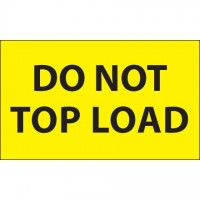 """"""" Do Not Top Load"""" Fluorescent Yellow Labels, 3 x 5"""""""