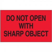 """"""" Do Not Open With Sharp Object"""" Fluorescent Red Labels, 3 x 5"""""""