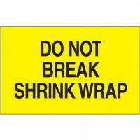 """ Do Not Break Shrink Wrap"" Fluorescent Yellow Labels, 3 x 5"""
