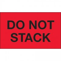 """"""" Do Not Stack"""" Fluorescent Red Labels, 3 x 5"""""""