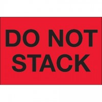 """ Do Not Stack"" Fluorescent Red Labels, 2 x 3"""