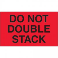 """"""" Do Not Double Stack"""" Fluorescent Red Labels, 3 x 5"""""""