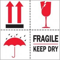 """International Safe Handling Labels -"""" Fragile - Keep Dry"""", 4 x 4"""""""