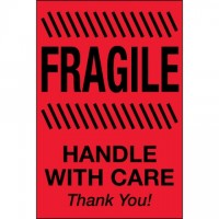 """ Fragile - Handle With Care"" Fluorescent Red Labels, 2 x 3"""