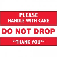 """"""" Do Not Drop - Please Handle With Care"""" Labels, 3 x 5"""""""