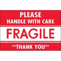 """ Please Handle With Care / Fragile / Thank You"" Labels, 2 x 3"""